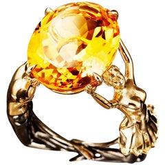 18 Karat Yellow Gold Citrine Cocktail Ring