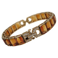 18 Karat Yellow Gold Citrine Diamond Bracelet