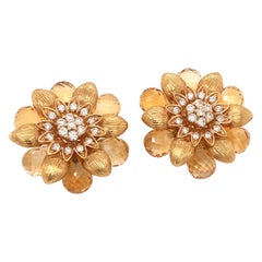 18 Karat Yellow Gold Citrine Flower Design Pair of Earrings Made in Italy