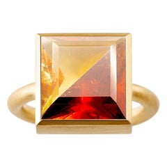 18 Karat Yellow Gold Citrine / Garnet Two-Stone Modern Cocktail Ring 7-13