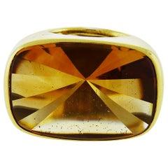 18 Karat Yellow Gold Citrine Ring by Rinaldo Gavello