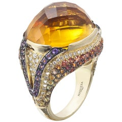 18 Karat Yellow Gold Citrine Ring Venice Collection by Niquesa