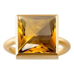 18 Karat Yellow Gold Citrine / Smoky Quartz Two-Stone Modern Cocktail Ring 7-13