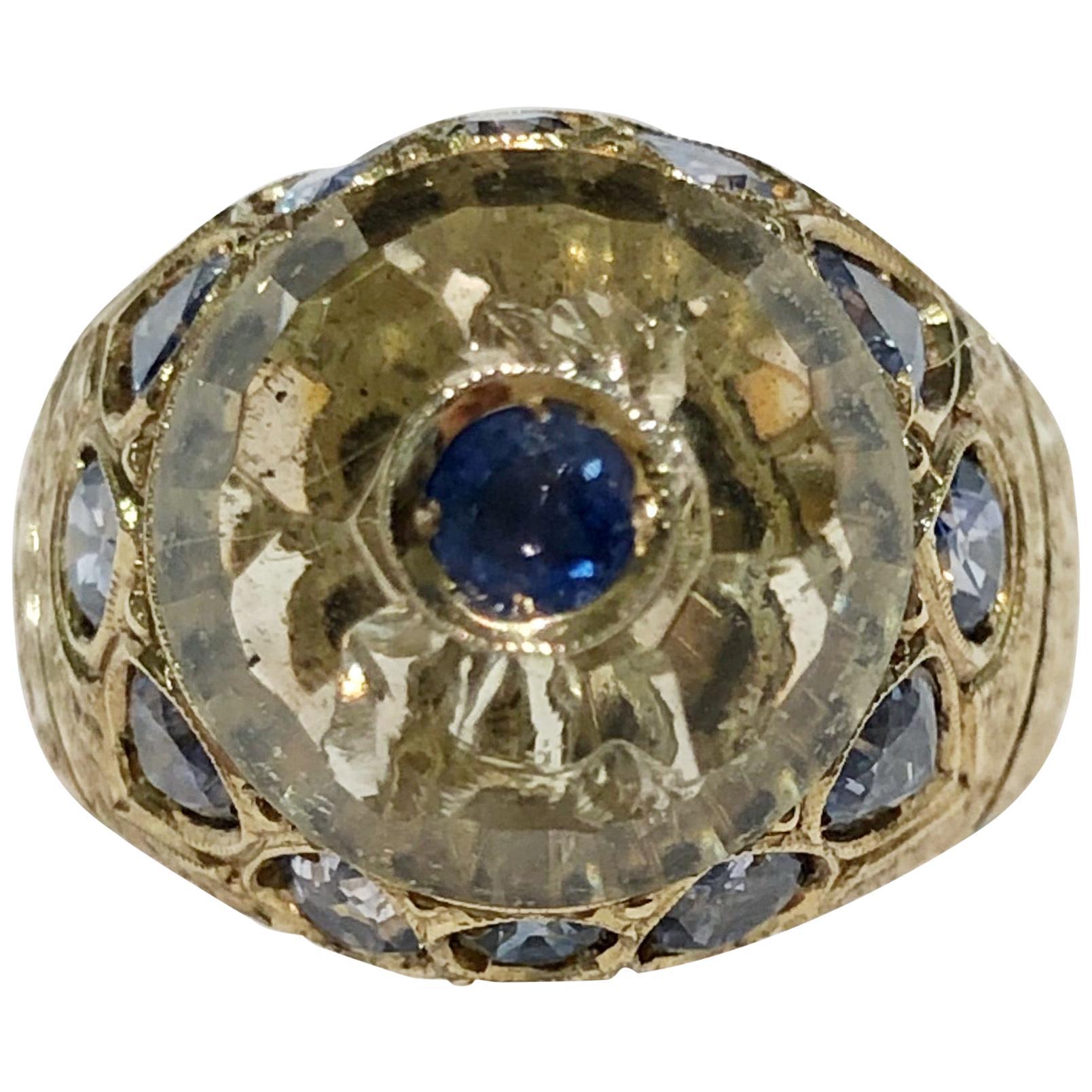 18 Karat Yellow Gold Citrine Topaz and Sapphire Ring