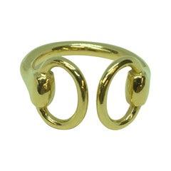 18 Karat Yellow Gold Classic Equestrian Horsebit Ring