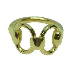 18 Karat Yellow Gold Classic Equestrian Linked Horsebit Ring
