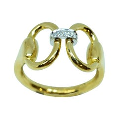 18 Karat Yellow Gold Classic Equestrian Platinum Diamond Linked Horsebit Ring