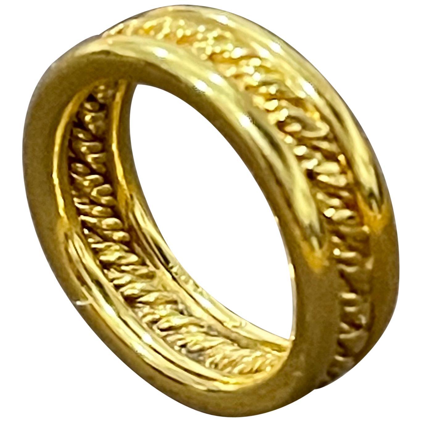 18 Karat Yellow Gold Classic Wide Wedding Band Ring