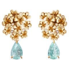 18 Karat Yellow Gold Clip-On Drop Earrings with Detachable Paraiba Tourmalines
