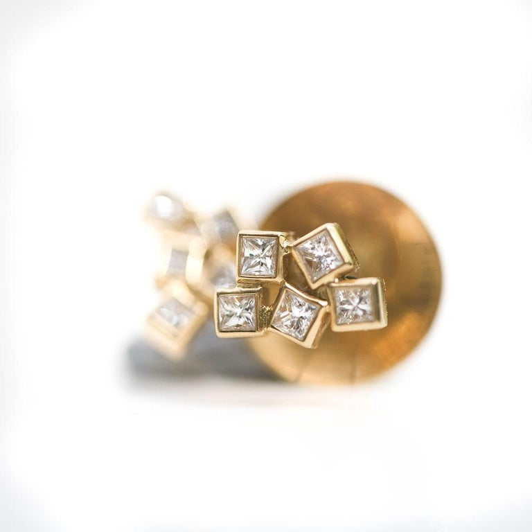 18 Karat Yellow Gold Cluster Unique Diamond Earrings With Diamonds For Sale At 1stdibs