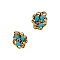 18 Karat Yellow Gold Cluster Earring with Turquoise and Diamonds