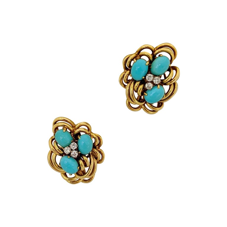 18 Karat Yellow Gold Cluster Earring with Turquoise and Diamonds For Sale