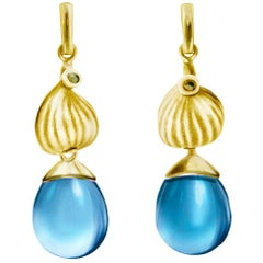 18 Karat Yellow Gold Cocktail Earrings with Blue Topazes and Diamonds