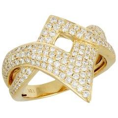 18 Karat Yellow Gold Cocktail Fashion Ring with Diamonds .88 Carat