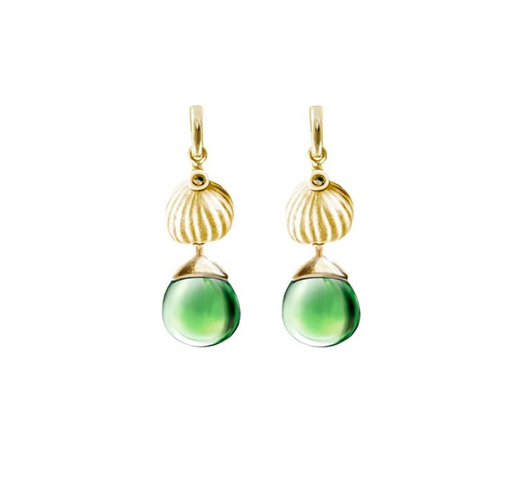 18 Karat Yellow Gold Cocktail Fig Earrings with Warm Green Quartzes and Diamonds For Sale 2