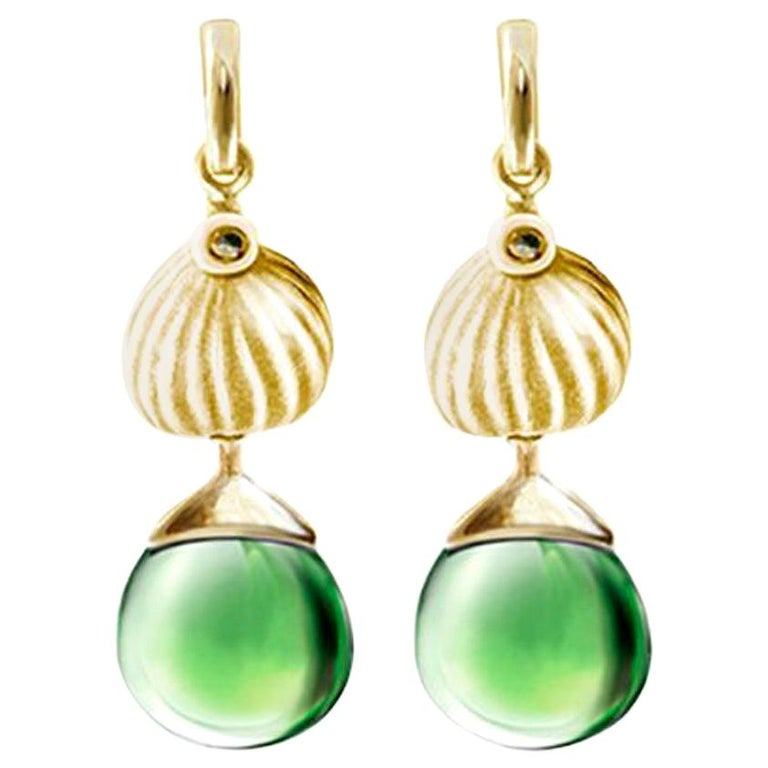 18 Karat Yellow Gold Cocktail Fig Earrings with Warm Green Quartzes and Diamonds For Sale