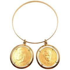 18 Karat Yellow Gold Coin Bracelet