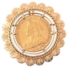 18 Karat Yellow Gold Coin Brooch or Pendant