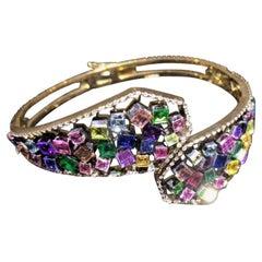 18 Karat Yellow Gold Colorful Emeralds Ruby Sappire Topaz Amethyst Bangle Aenea