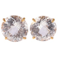 18 Karat Yellow Gold Colorless Quartz Earrings by Bielka
