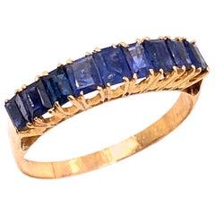 18 Karat Yellow Gold Contemporary Baguette Cut Sapphire Ring