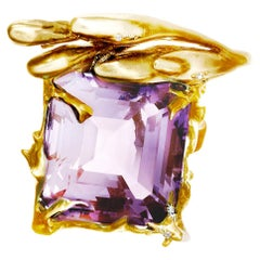 18 Karat Yellow Gold Contemporary Blossom Pendant Necklace with Huge Amethyst