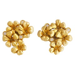 18 Karat Yellow Gold Contemporary Clip-On Earrings by the Artist with Diamonds