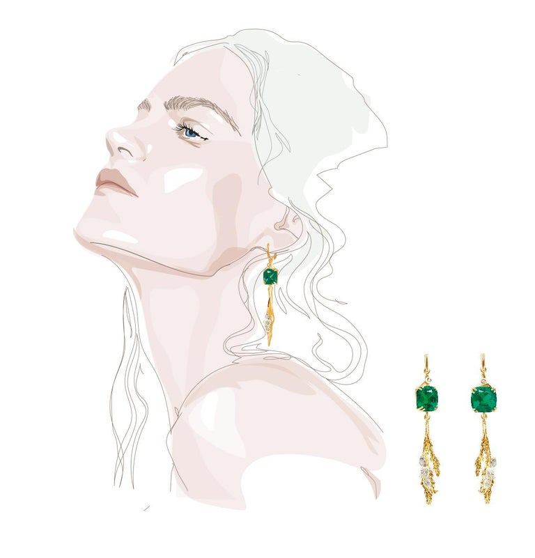 18 Karat Yellow Gold Contemporary Clip-On Earrings with Emeralds and Diamonds In New Condition For Sale In Berlin, DE