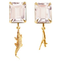 18 Karat Yellow Gold Contemporary Clip-On Earrings with Morganites