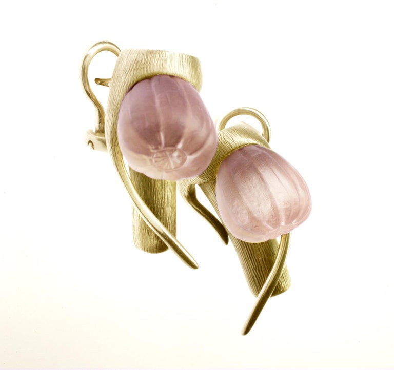 These contemporary Fig cocktail earrings are in 18 Karat yellow gold with rose quartzes. The collection was featured in Harper's Bazaar UA editorial, published issue. The earrings were chosen for the 64th Berlinale Film Festival red carpet by the