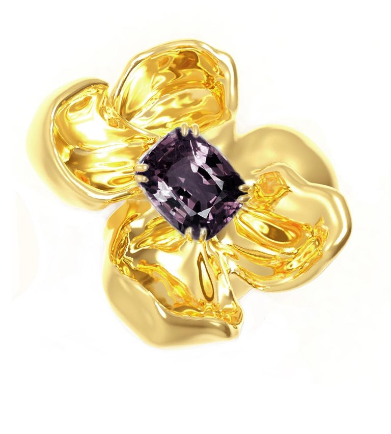 Cushion Cut 18 Karat Yellow Gold Contemporary Cocktail Ring with Ink Storm Purple Spinel For Sale
