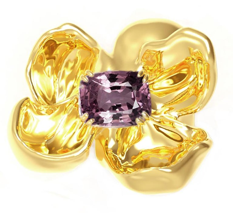 Women's 18 Karat Yellow Gold Contemporary Cocktail Ring with Storm Purple Spinel For Sale