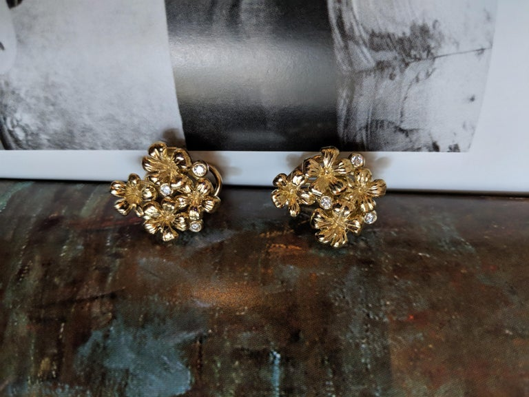 Women's 18 Karat Yellow Gold Contemporary Earrings by the Artist with Diamonds For Sale