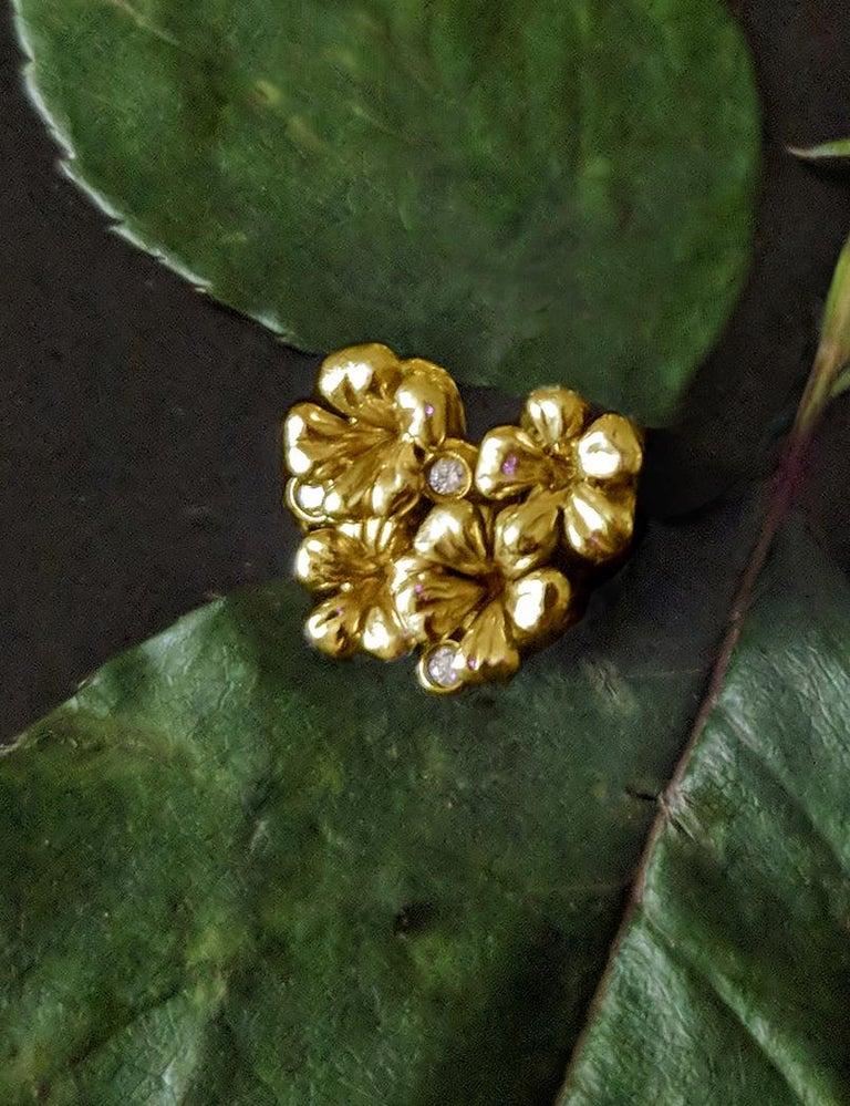 18 Karat Yellow Gold Contemporary Earrings by the Artist with Diamonds For Sale 3