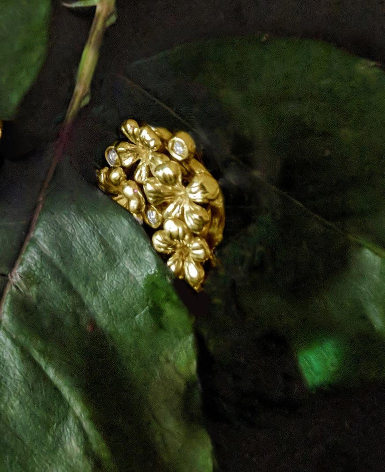 18 Karat Yellow Gold Contemporary Earrings by the Artist with Diamonds For Sale 4