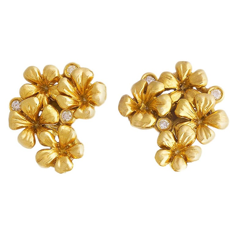 18 Karat Yellow Gold Contemporary Earrings by the Artist with Diamonds For Sale