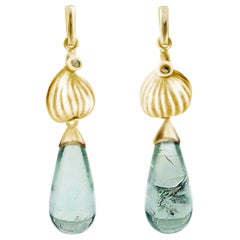 18 Karat Yellow Gold Contemporary Earrings with Blue Tourmalines and Diamonds