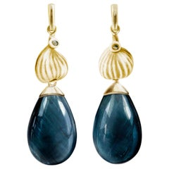 18 Karat Yellow Gold Contemporary Earrings with Indicolites and Diamonds