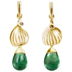 18 Karat Yellow Gold Contemporary Earrings with Natural Emeralds and Diamonds