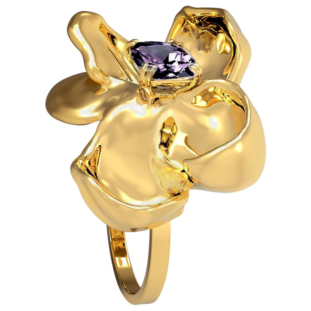 18 Karat Yellow Gold Contemporary Engagement Ring with Ink Storm Purple Spinel