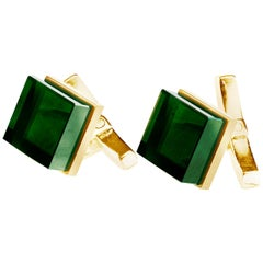 18 Karat Yellow Gold Contemporary Ink Cufflinks by the Artist with Emeralds