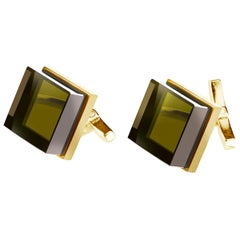 18 Karat Yellow Gold Contemporary Ink Cufflinks by the Artist with Smoky Quartz