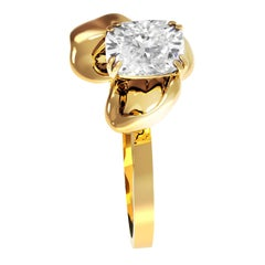 18 Karat Yellow Gold Contemporary Ring with GIA Certified 1.01 Carat Diamond