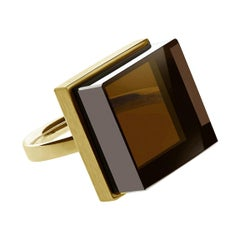 18 Karat Yellow Gold Contemporary Ring with Smoky Quartz by Artist
