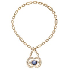 18 Karat Yellow Gold Convertible Diamond Link Chain and Sapphire Necklace