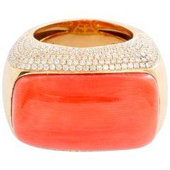 18 Karat Yellow Gold Coral and Diamond Ring
