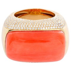 18 Karat Yellow Gold Coral and Diamond Ring