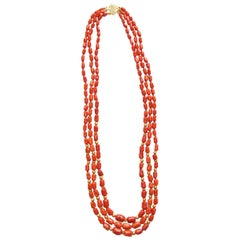 18 Karat Yellow Gold Coral Red Beaded 3 Strand Rope Necklace