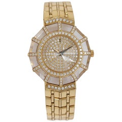 18 Karat Yellow Gold Corum Ladies Watch Limelight Pave-Set Diamonds