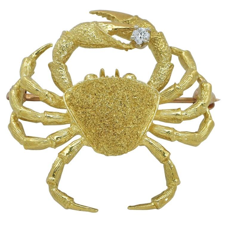 18 Karat Yellow Gold Crab Brooch Pin